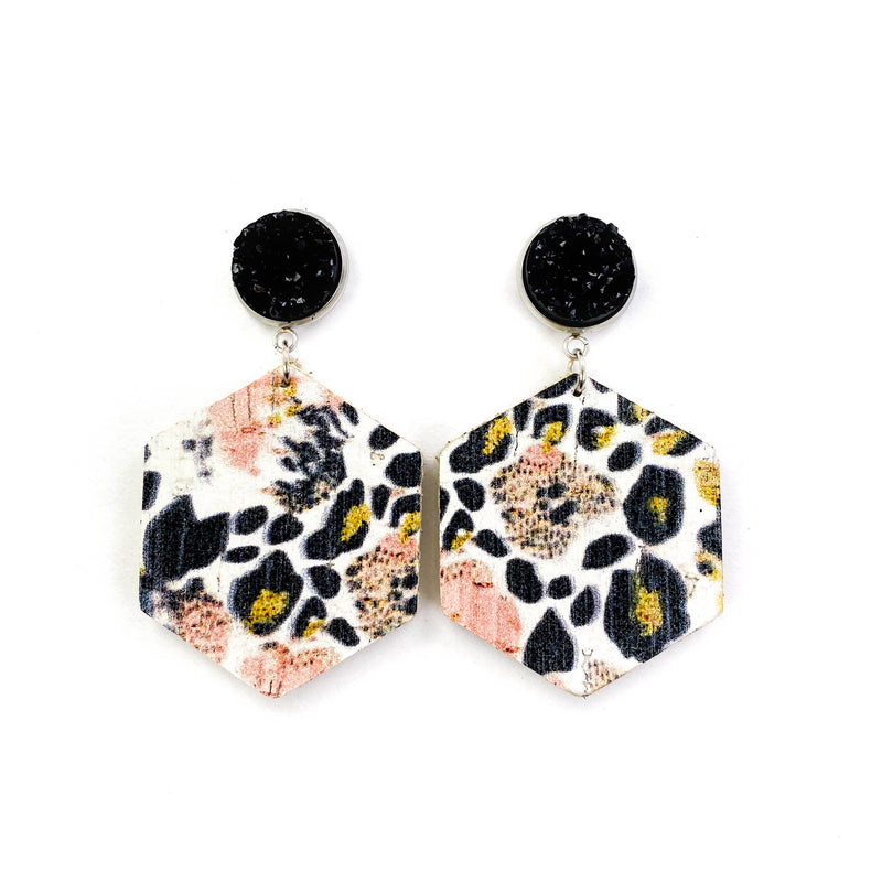 Druzy Stud Leopard Leather Earrings