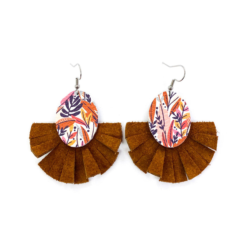 Leaf Fringe Fan Leather Earrings {Brown}