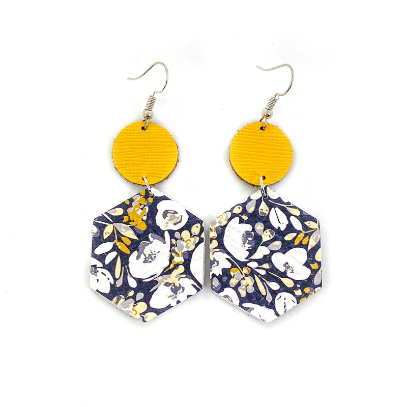 Mustard and Navy Hexagon Leather Earrings