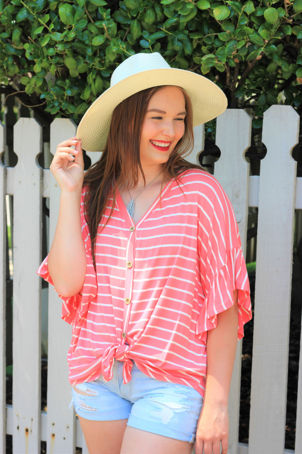 Button Down Tie Front {Coral}