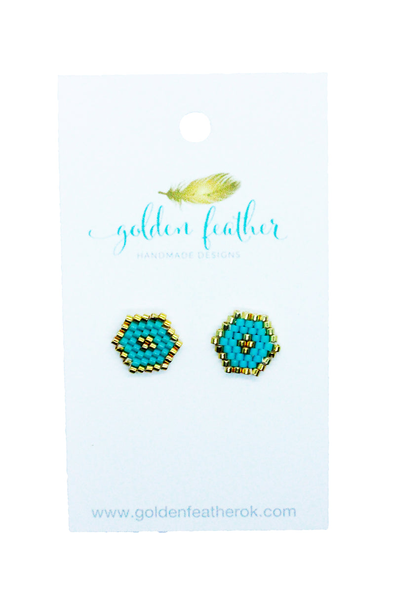 Beaded Stud- Golden Feather