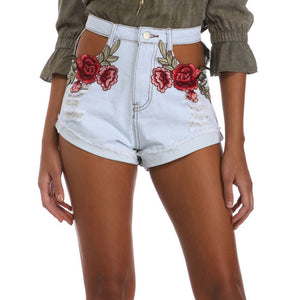 Jenna Floral High Waist Denim Shorts
