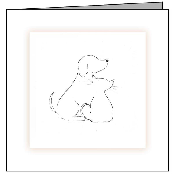 Animal Hospital Sympathy Card - Dog and Cat Outline