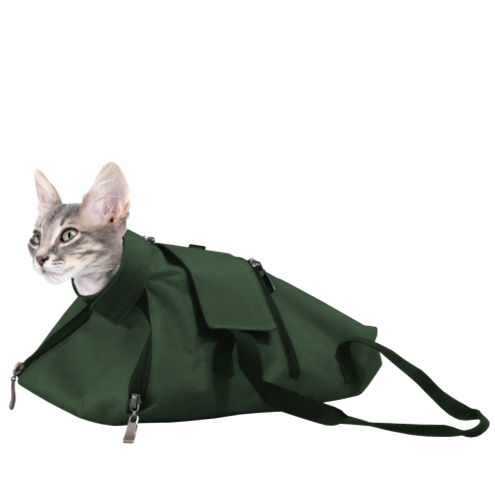 cat restraint bag zippered green nail trims
