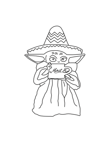 Merit Coffee Kids Coloring Page Baby Yoda PDF Download