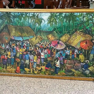 OIL PAINTING - MARKET SCENE