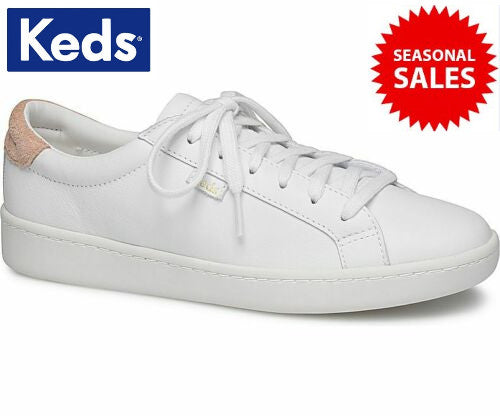 c09cd0053e Keds Women's Ace Leather White/Coral Shoes (Colour: White / Model No:  WH58548)