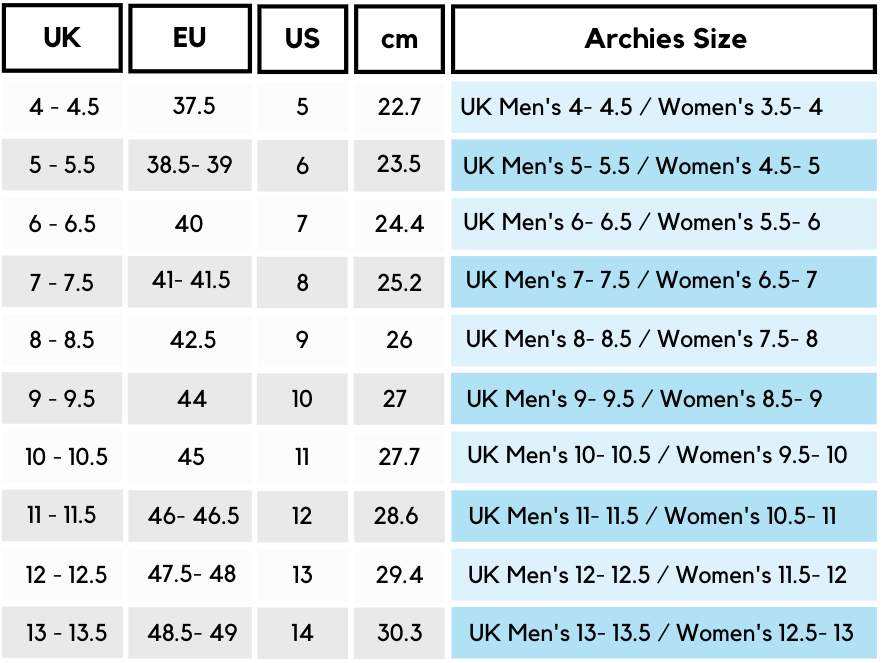 Archies Footwear Men's Size Guide