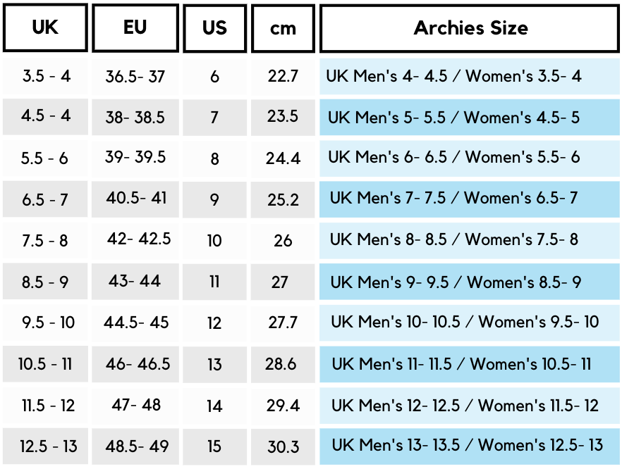 Archies Footwear UK Size GUide