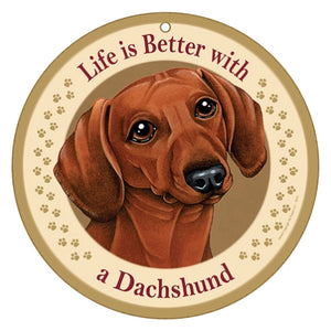 10 inch Round Dachshund Plaque- red