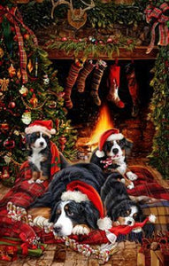 Bernese Mountain Dog Holiday Towel
