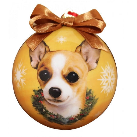 Chihuahua tan Christmas Ball Ornament