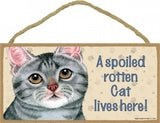 Grey Tabby-A Spoiled rotten cat lives here Plaques