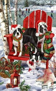 Boston Terrier Holiday Towel