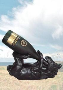 Equine black wine holder