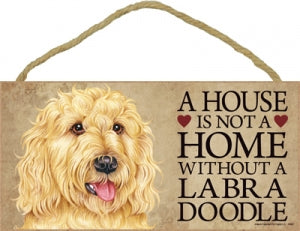 Labradoodle- Blonde-  A house is not a home-Plaques