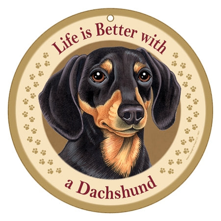 10 inch Round Dachshund Plaque- brown & Tan