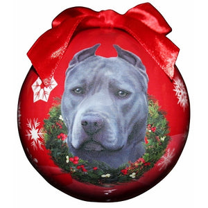 Pit Bull Grey Christmas Ball Ornament