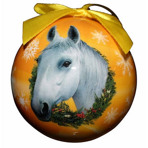 White Horse Christmas Ball ornament