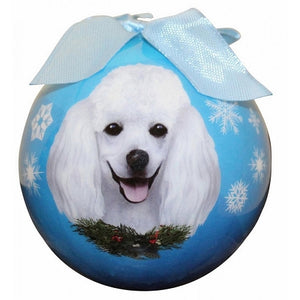 White Poodle Christmas Ball ornament