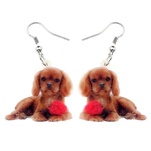Acrylic Cavalier King Charles Spaniel Dog Earrings