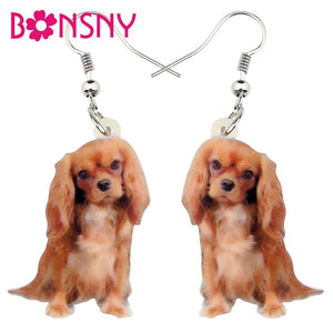 Acrylic Cute Cavalier King Charles Spaniel Dog Earrings