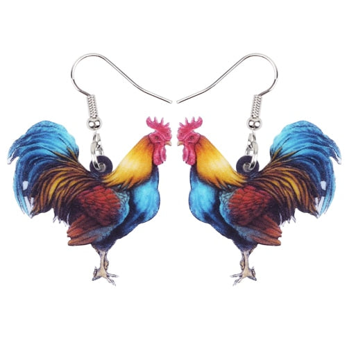 Acrylic Floral Novelty Rooster Chicken Earrings
