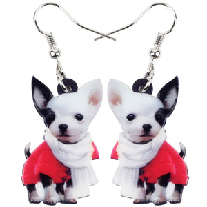 Drop Acrylic Scarf Chihuahua Dog Earring
