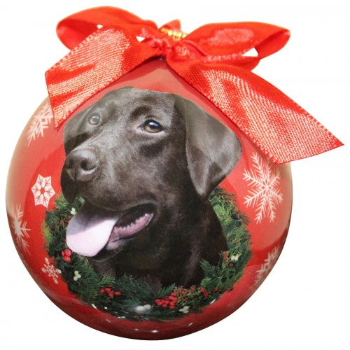 Chocolate Lab ball Christmas ornaments