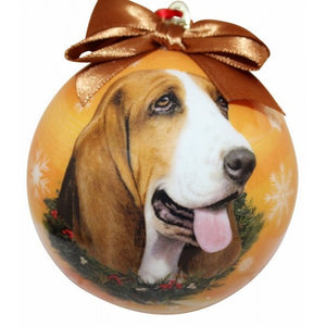 Basset hound ball Christmas ornaments