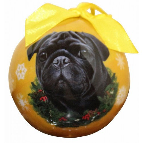 Black pug ball Christmas ornament