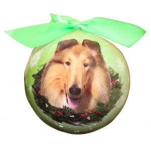 Collie Christmas ball ornament
