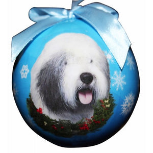 Old English Sheepdog ball Christmas ornaments