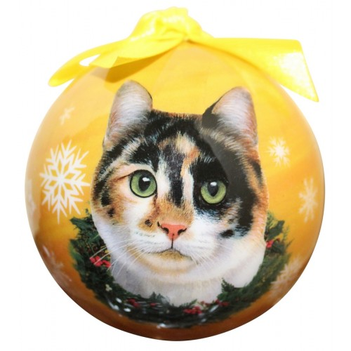 Calico Christmas ball ornament