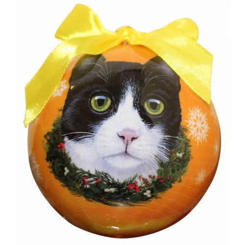 Black & White  Cat Christmas ball ornament