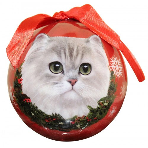 White Persian cat Christmas Ball ornament