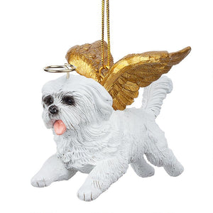 Maltese Holiday Dog Angel Ornament