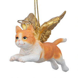 Orange & White Tabby Cat Holiday Angel Ornament