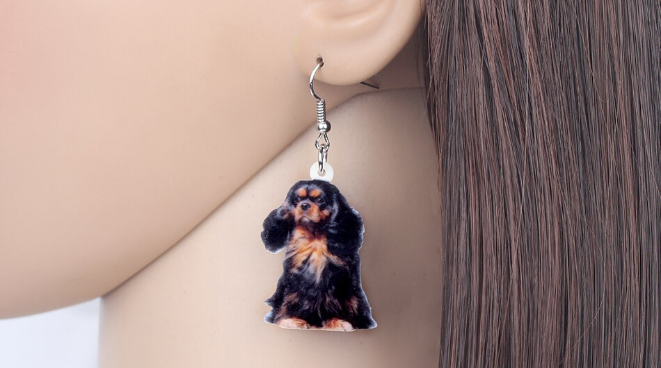 Black Cavalier King Charles Earrings