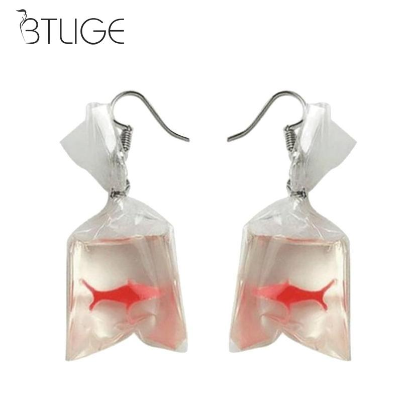 Novelty Kawaii Cartoon Resin Goldfish Imitation Water Bag Shape Fashion Charms Earrings Funny Jewelry Dangle Earrings