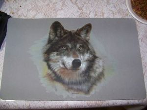 Wolf face placemats set of 4