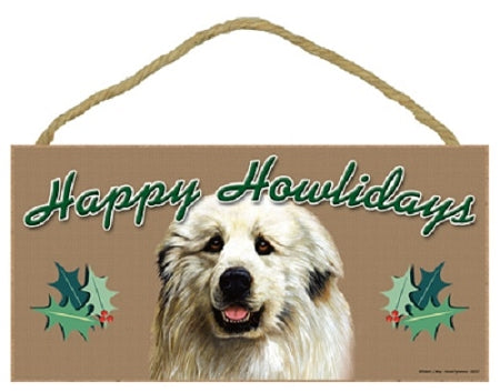 Great Pyrenees Happy Howlidays Plaque