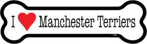 I Love Manchester Terriers Bone Magnet