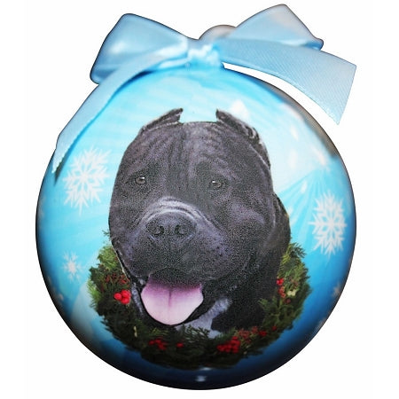 Black Pit Bull Christmas Ball ornaments