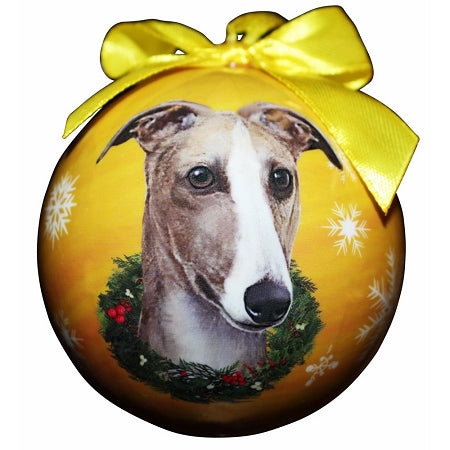 Greyhound fawn & white Christmas Ball ornament