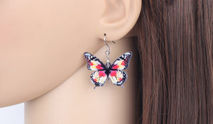 Floral acrylic butterfly earrings