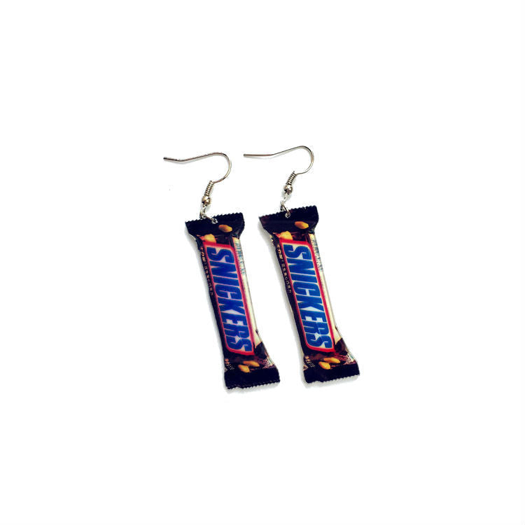 Snickers candy bar earrings