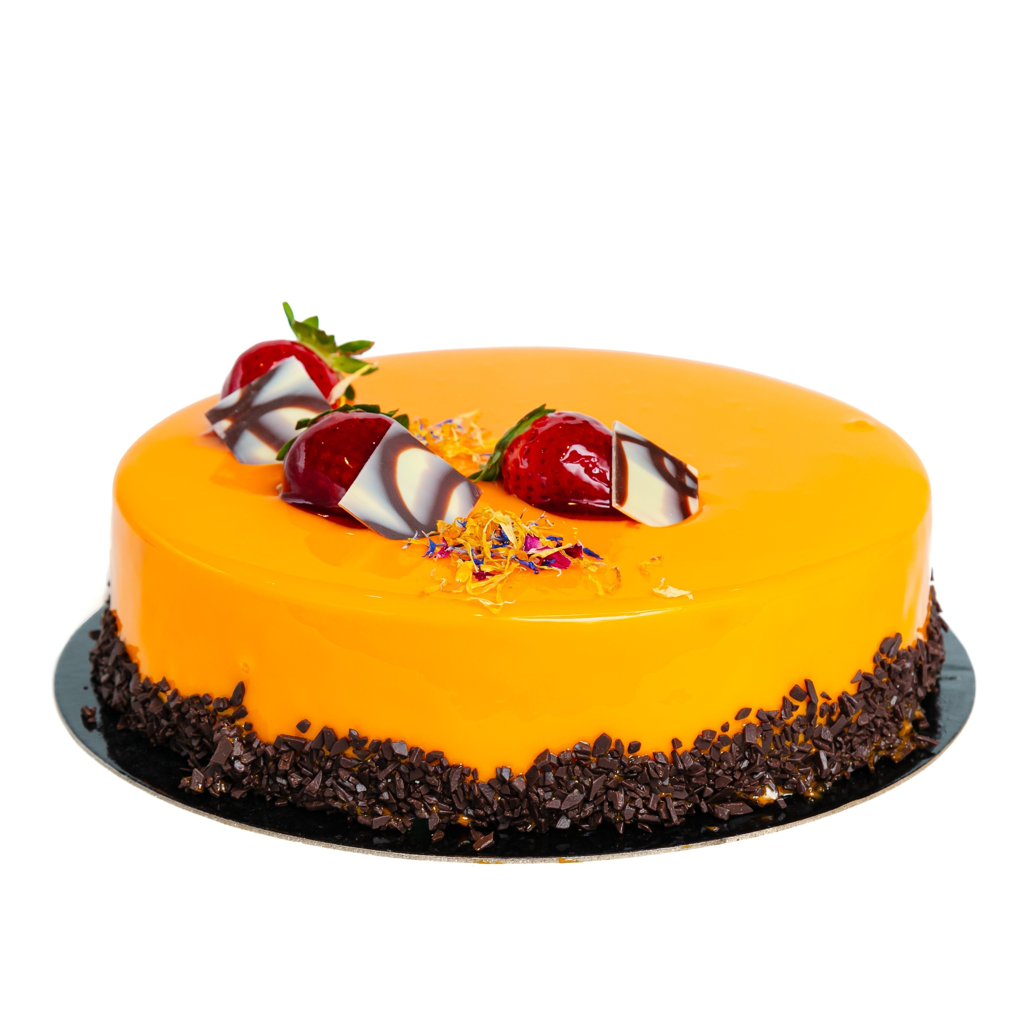 Caramel Semifreddo Cake with yellow mirror glaze and strawberries