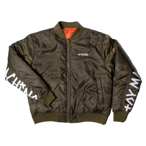 REVERSIBLE BOMBER JACKET -OLIVE-