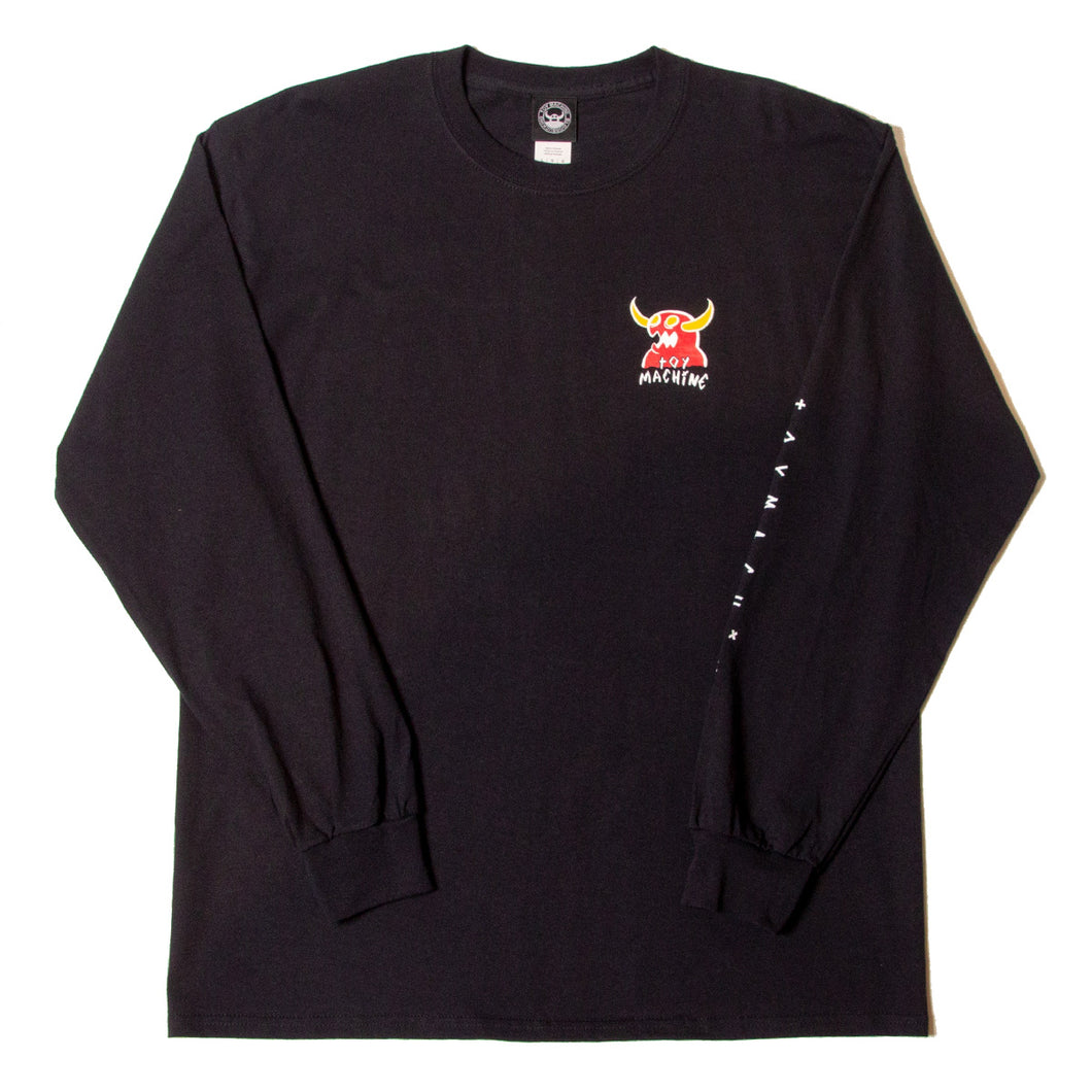 MONSTER MARKED  LONG SLEEVE TEE - BLACK